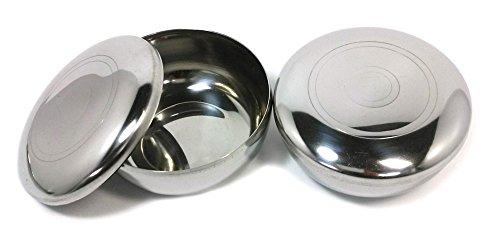 Stainless Steel Korean Kitchen Restaurant Dinner Soup Rice Bowl Cover 2 Sets