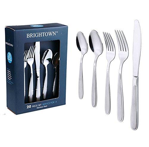 Heavy Duty Stainless Steel Flatware Silverware Set Service for 4 Mirror Polished 20-Pieces Cutlery Set Tableware Dinnerware-Includes KnifeForkSpoon Heat Resistant