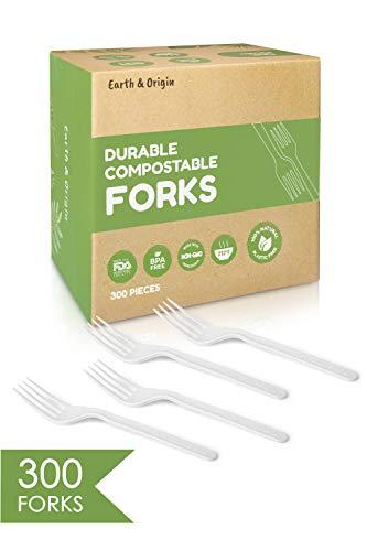 300 Pack Compostable Forks - Plant-Based CPLA Plastic Forks Alternative - Biodegradable Forks - Disposable Forks - Compostable Cutlery for Lunch Dinner Party - Compostable Utensils