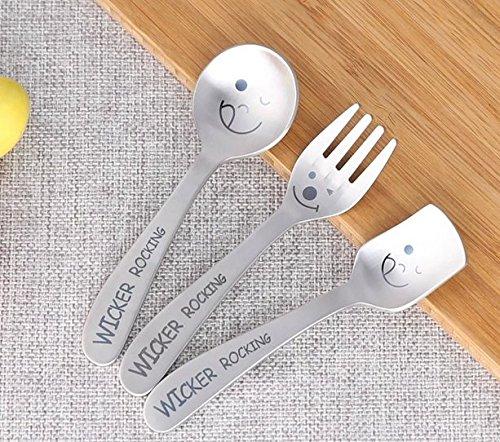 B&S FEEL Smiley Face Fork and Spoon Set Kids Stainless Steel Utensil Set of 3