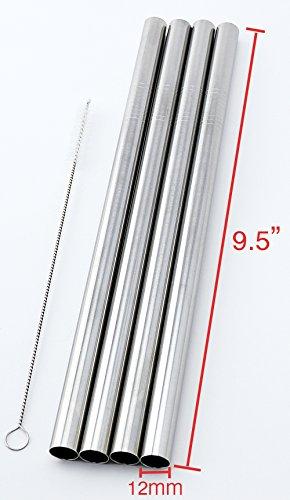 4 SUPER WIDE Stainless Steel 95 Long x 12 Wide Drink Straw Smoothie Thick Milkshake -CocoStraw Brand