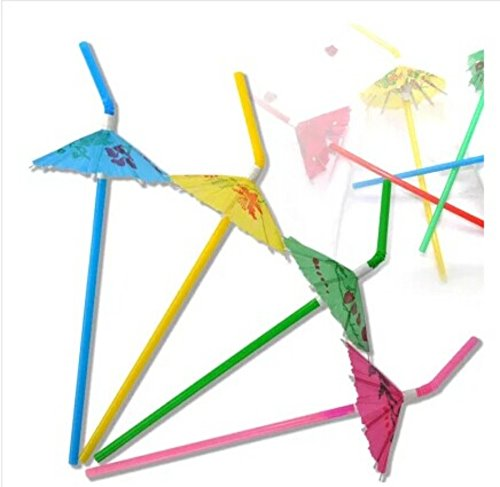 50 Pack Party tonight Cocktail Party Umbrella Tropical Drink Straws - Great for Parties Drinks Cocktails More Mix Colored Multipack Bring More Fun to Your Drinks 50 Multi