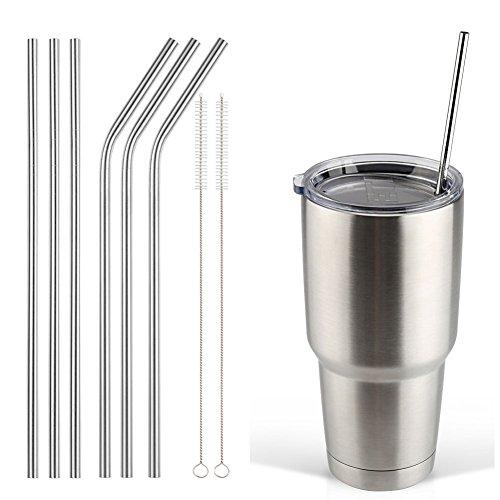 Accmor 188 Stainless Steel Straws Reusable Metal Drinking Straws for 30 20 Oz Yeti Tumbler Rambler Cups6 FBA