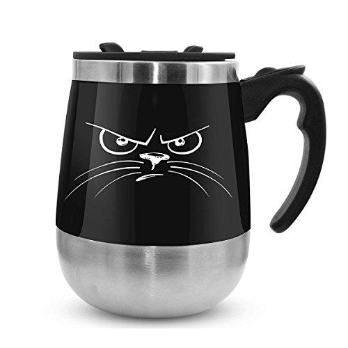 LEADNOVO Update Self Stirring Mug Auto Self Mixing Stainless Steel Cup for BulletproofKeto CoffeeTeaHot ChocolateMilkCocoa Protein Shaker Mug for OfficeKitchenTravelHome -450ml152oz Black