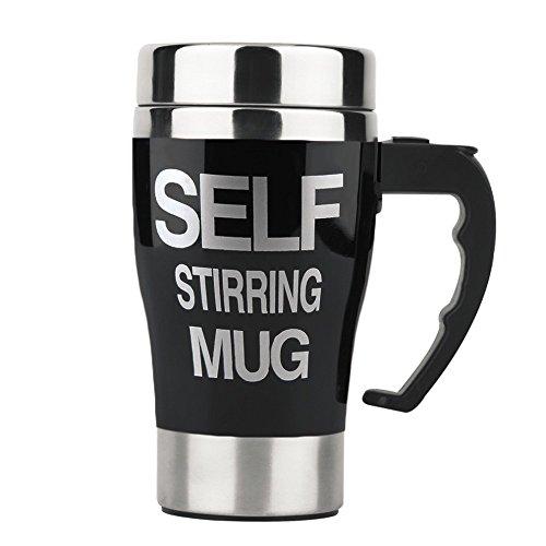 Smileto 350ml Portable Lazy Auto Self Stirring Mug Mixing Tea Coffee Cup Perfect For Office Home Gift Black
