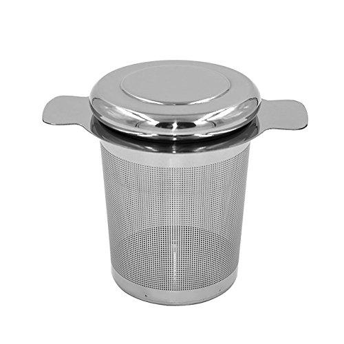 Newcomdigi Stainless Steel In Mug Tea Infuser with Lid Loose Leaf Tea Steeper Tea Strainer Mesh Tea Filter for Cup Mug Large