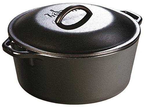 Lodge L8dol3 Pre-seasoned Cast-iron Dutch Oven With Dual Handles, 5-quart