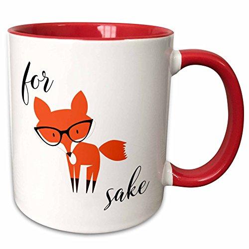 3dRose mug_235574_5 For Fox Sake Two Tone Red Mug 11 oz RedWhite