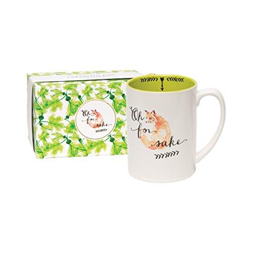 CR Gibson 16 oz Porcelain Coffee Mug Gift Boxed Dishwasher Microwave Safe Measures 5 W x 463 - For Fox Sake