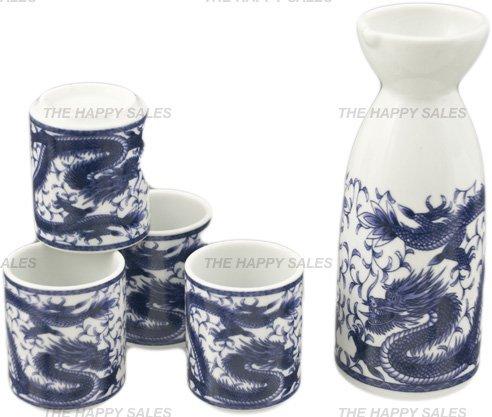 Happy Sales HSSS-DRG11 Royal Dragon Sake Set White and Blue