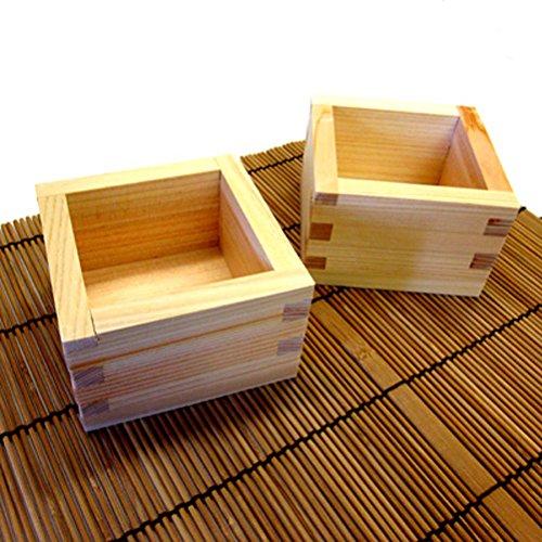 JapanBargai S-2757x2 Japanese Square Wood Masu Sake Cup 4-Ounce Set of 2