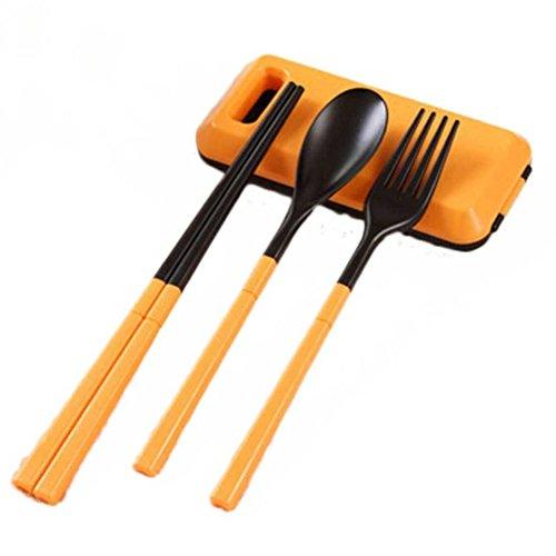 Tinksky Portable Folding Outdoor Flatware Fork Spoon Chopsticks Lightweight Travel  Camping Cutlery Set Orange