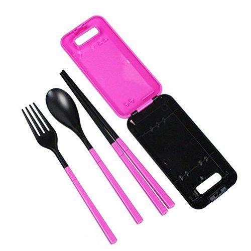 Tinksky Portable Folding Outdoor Travel Cutlery Flatware Fork Spoon Chopsticks Set Rosy