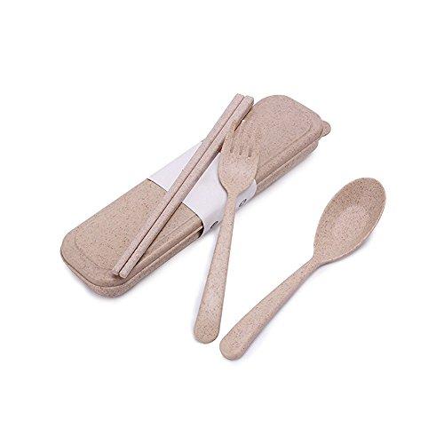 UPSTYLE Wheat Straw 3-Piece Spoon Chopsticks Fork Utensil Set Students Travel Cutlery Set Camping Tableware SetBeige
