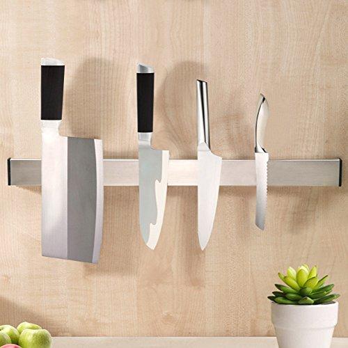 KES SUS304 Stainless Steel Magnetic Knife Rack 16-Inch 3M Self Adhesive Kitchen Utensil Rail Brushed Finish KUR201S40-2