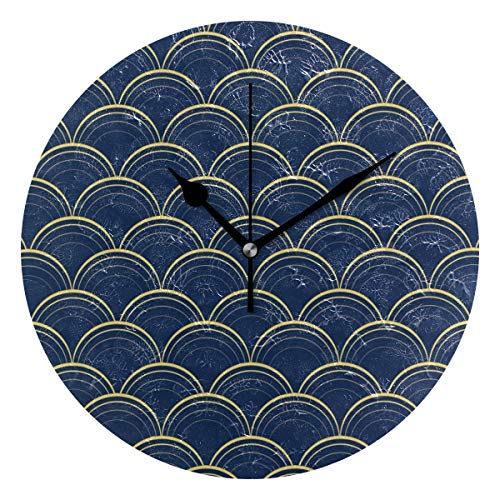 HCMusic Round Blue Gold Scales Wall Clock- Non Ticking Digital Quiet Sweep Clock Decorative for Office Living Room Bedroom 10 Inch