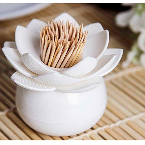 Adeeing Hot Chic Lotus Flower Cotton Bud Swab Holder Small Q-tips Toothpicks Case Box Storage Organizer Home Decor White