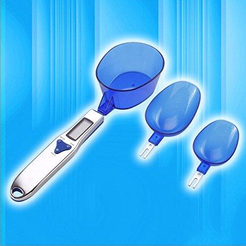 Battery Operted 500g/0.1g Digital Spoon Scale Easy Clean Detachable 3 Scoop Stainless Steel Handle Lcd Display