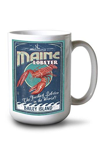 Bailey Island Maine - Lobster Vintage Sign 15oz White Ceramic Mug