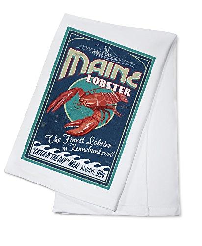 Kennebunkport Maine - Lobster Vintage Sign 100 Cotton Absorbent Kitchen Towel