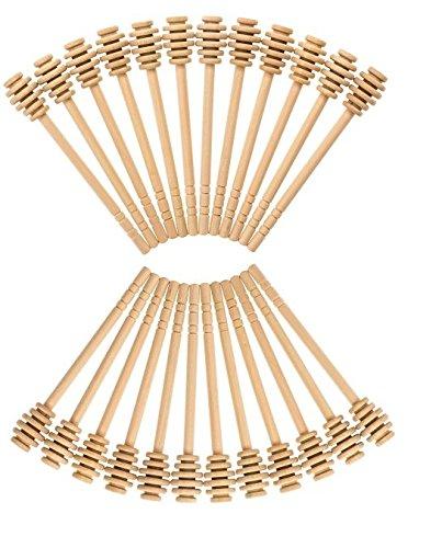 Honey Dipperz 24 PACK - 6 Inches Long 16cm Wooden Honey Dipper Drizzler Stirring Stick Spoon Rod Muddler Dispense Bulk Lot