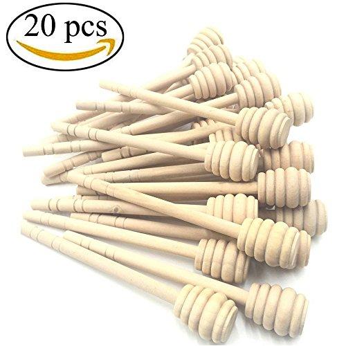 Mmei Set of 20 6 Inch Portable Wooden Jam Honey Dipper Honey Sticks for Honey Jar Dispense Drizzle Honey
