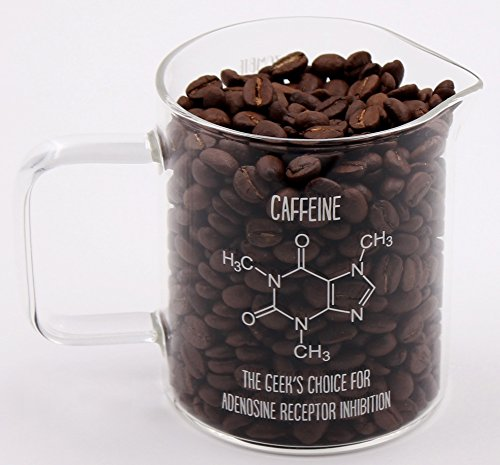 Caffeine Molecule Beaker Mug - Molecule on Front and Funny Scale on Back includes Gift Box