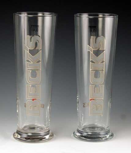 Becks 04 Liter Signature Beer Glass  Set of 2 Glasses