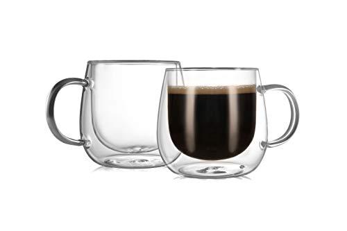 CnGlass Insulated Glass Coffee Mugs 10ozSet of 2 Large Double Wall Glass Espresso MugsClear Glasses Cappuccino Mug with HandleTea Latte Glassware