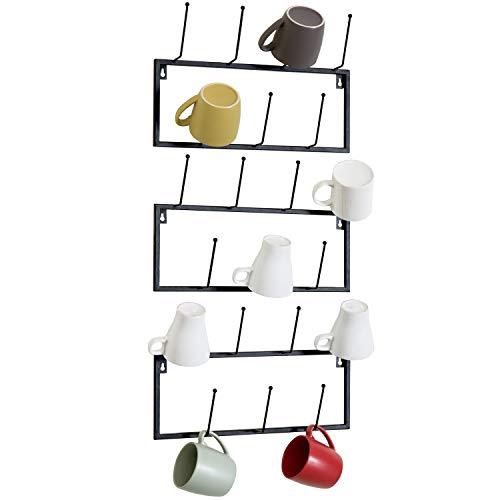 MyGift Set of 3 Black Metal Wall-Mounted Coffee Mug Storage Rack 21-Hooks Total