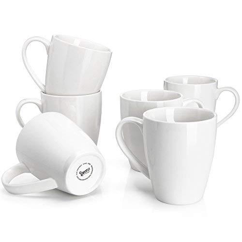 Sweese 601001 Porcelain Mugs - 16 Ounce for Coffee Tea Cocoa Set of 6 White