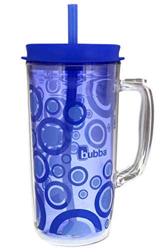 Bubba Envy Travel Thermal Mug 48 Ounces - Double Wall Insulated with Straw - Keep All Your Favorite Cold Drinks at Your Side - Sweat Resistant Ideal For Travel - Serenity with Blue Bubbles Graphic