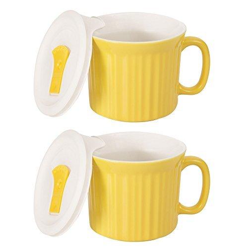 CorningWare Colours Pop-Ins 20-oz Soup Mug Vented Lid - 2 Pack Curry