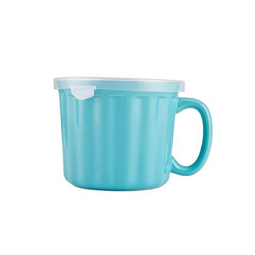 Farberware 5172594 Bakers Advantage Ceramic Soup Mug with Lid 16-Ounce Teal