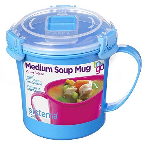 Sistema To Go Collection Microwave Soup Mug 22 oz Blue2pk