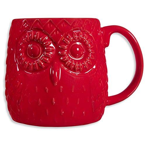 Home Essentials 20 Oz Embossed Owl Mug Red