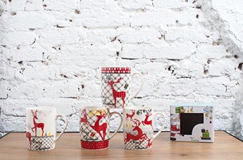 All For You X977 Christmas New Bone China Mug with Christmas Gift Prints Christmas Deer-Set of 4 12 Oz Gift Box 4 Piece Assorted Color