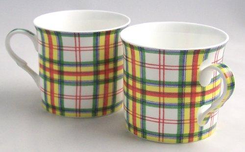 Fine English Bone China Mugs - Tartan Grant Scottish Plaid - Set of Two
