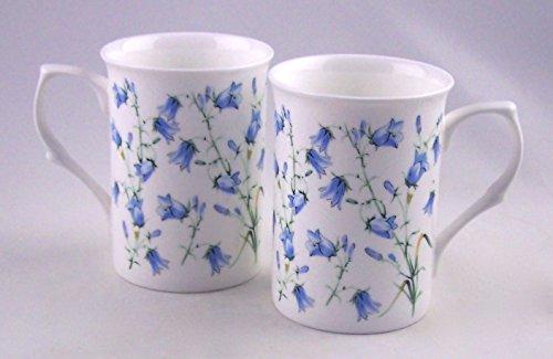 Pair 2 Fine English Bone China Mugs - Harebell Bluebell Chintz - England