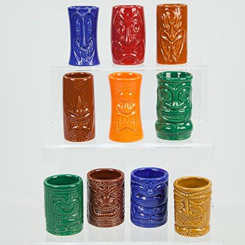 Tiki God Shot Glass Mug Set of 10 Ceramic Dishwasher Safe
