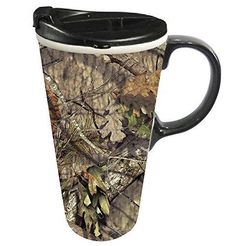 Cypress Home Mossy Oak Country Ceramic Travel Coffee Mug 17 ounces
