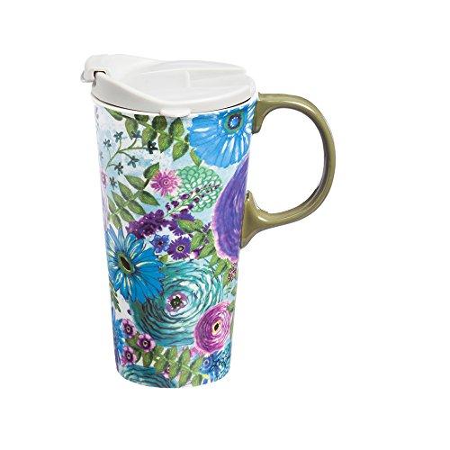 Cypress Home Watercolor Floral Ceramic Travel Coffee Mug 17 ounces