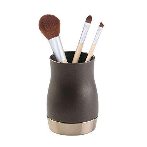 mDesign Decorative Metal Makeup Brush Cup Holders Tumblers for Bathroom Vanity Countertops - for MouthwashMouth Rinse Storing and Organizing Cosmetic Accessories - BronzeBrown