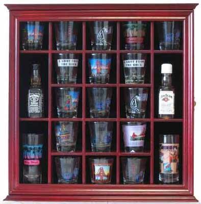 21 Shot Glass Shooter Display Case Holder Rack Wall Cabinet Glass Door SC01 Cherry Finish