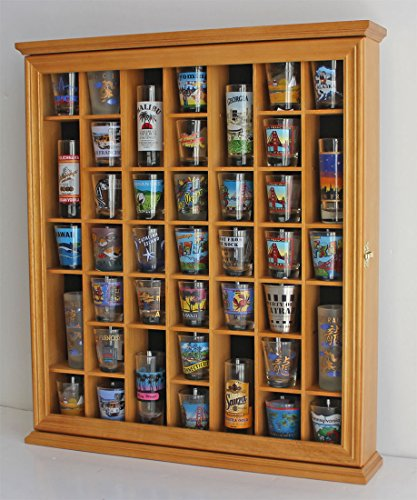41 Shot Glass Display Case Cabinet Holder- with Glass Door Wall Mountable