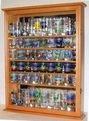 Large 72 Shot Glass Display Case Cabinet Rack Holder-Mirror Back Oak Finish
