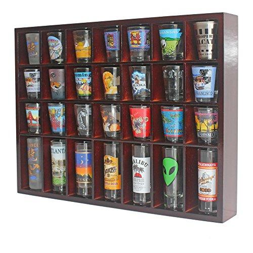28 Shot Glass Shooter Display Case Holder Cabinet Rack solid wood NO Door Mahogany Finish SC11-MAH