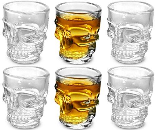 KOVOT Skull Shot Glasses Set of 6 15 oz Clear