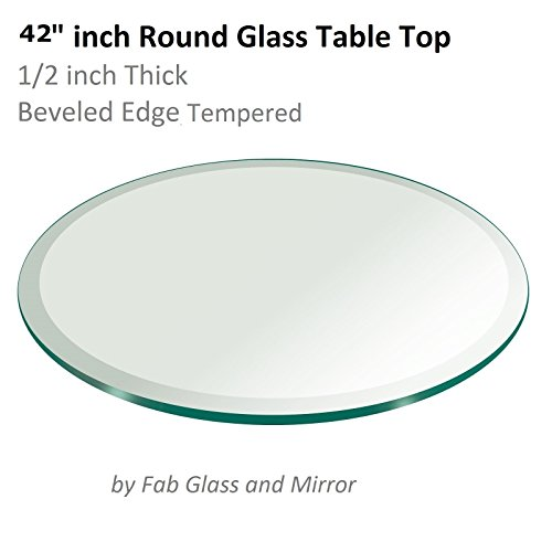 42 Inch Round Glass Table Top 12 Thick Tempered Beveled Edge by Fab Glass and Mirror