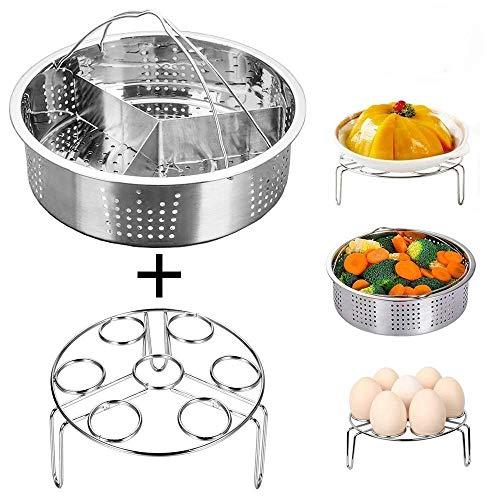 Instant Pot Accessories Steamer Basket with Egg Steamer Rack Divider Fits Instant Pot 568 qt Pressure Cooker Stainless Steel 3 Pcs Set